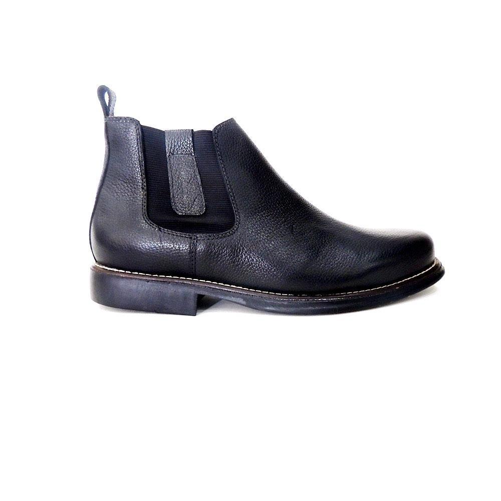 Botina Couro Masculina Elastico Botina Riber Masculina em Preto Confort Shoes Confort xwYFqx