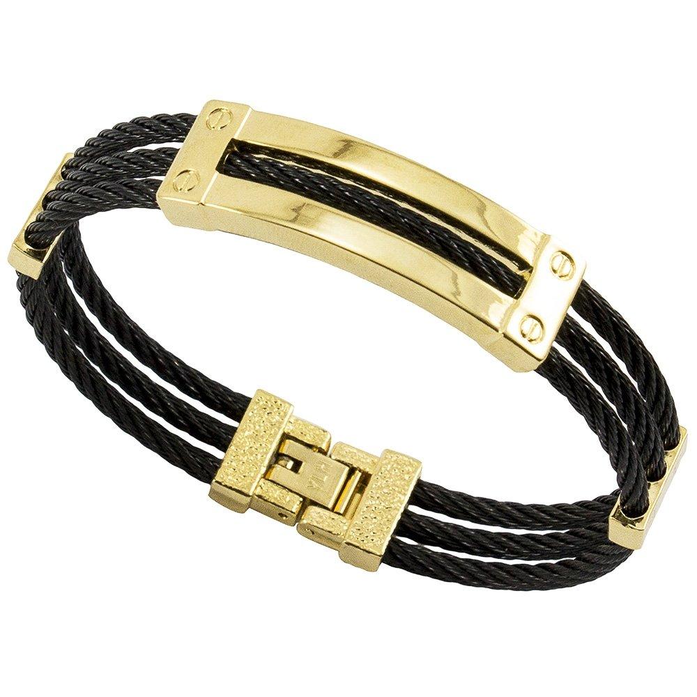 Bracelete Tudo Jóias De Aço Inox Cabo Náutico Black - Preto+Dourado