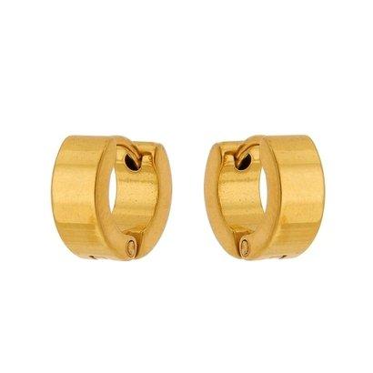 Brinco Argola de Aço Inox Tudo Joias Dourado Modelo Reto
