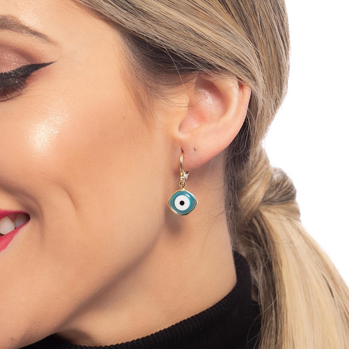 Brinco Argola Dona Diva Semi Jóias Olho Grego Feminino - Dourado e Azul