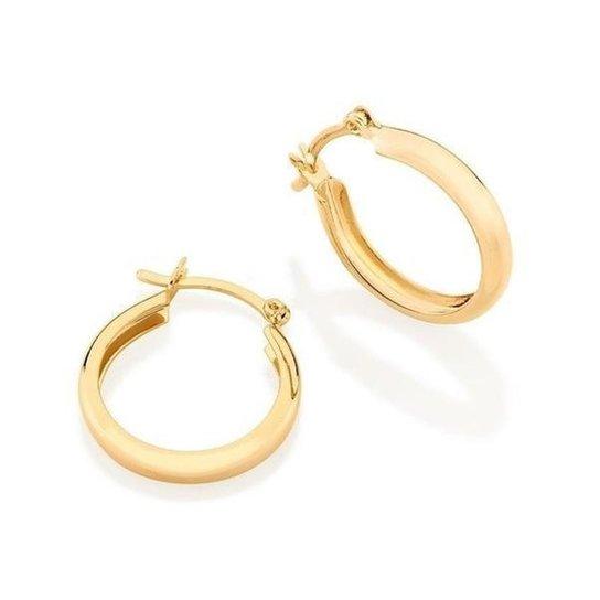 Brinco Argola Larga Lisa Banhada A Ouro 2,5 Cm Lys Lazuli Feminino - Dourado
