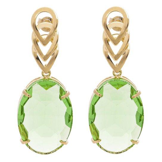 Brinco Banho De Ouro Cristallo Oval Cristal - Verde