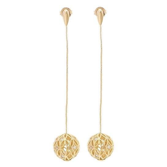 Brinco Banho De Ouro Longo Com Pingente De Bola E Zirconias - Dourado