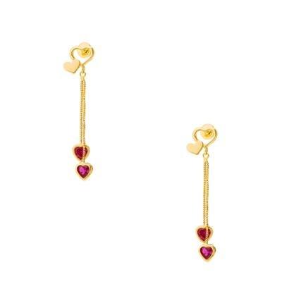 Brinco De Ouro 18K Corações Com Zircônia Pendurados Br21841-Feminino