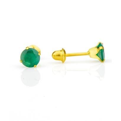 Brinco De Ouro 18K Joiasgold Com Zircônia-Feminino
