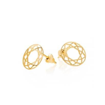 Brinco De Ouro Joiasgold 18K Circulo Vazada-Feminino