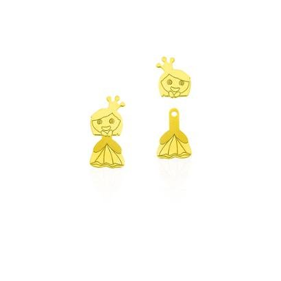 Brinco De Ouro Joiasgold 18K Infatil Princesa Articulado-Feminino