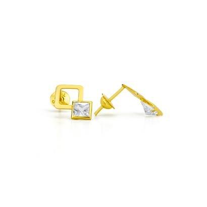 Brinco De Ouro Joiasgold 18K Modelo Quadrado Vazado Com Zircônia-Feminino