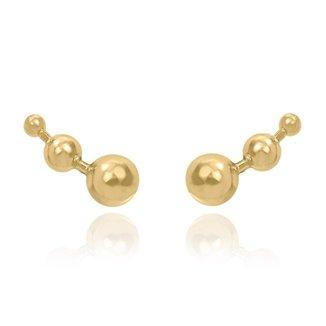 Brinco Ear Cuff Bolinhas Folheado em Ouro 18k