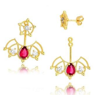 Brinco Ear Jacket com Gotas Branco e Rosa Lua Mia Joias - Semijoia Folheada a Ouro 18k