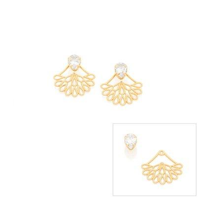 Brinco Ear Jacket Dourado com Zircônia Rommanel