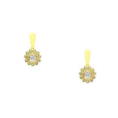Brinco Joiasgold De Ouro 18K Chuveiro Modelo Flor Com Diamantes Br20561-Feminino