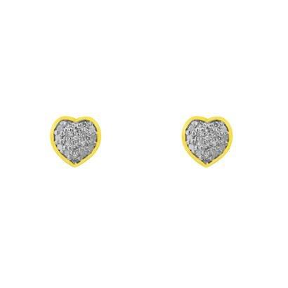 Brinco Joiasgold De Ouro 18K Pavê Coração Com Diamantes Br15644-Feminino