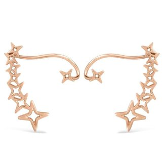 Brinco Life Ear Cuff Banho Ouro Rosé Star