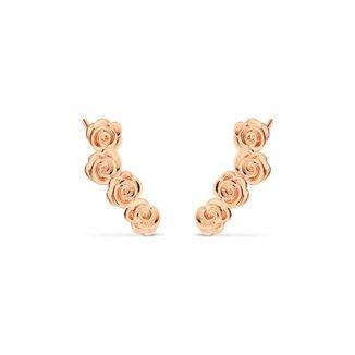 Brinco Life Ear Cuff Rosas Com Banho Ouro Rosé