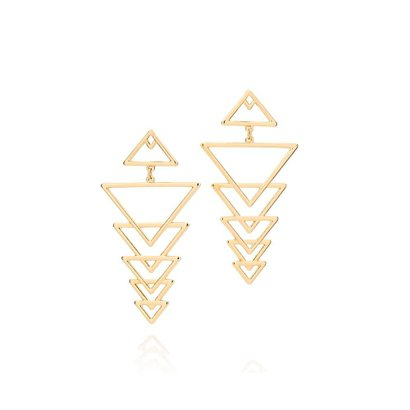 Brinco Triângulos Vazados Rommanel