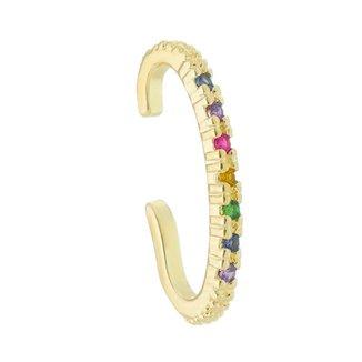 Brinco Unitário Piuka Ear Hook De Encaixe Ashley Zircônia Colorida Folheado A Ouro 18k