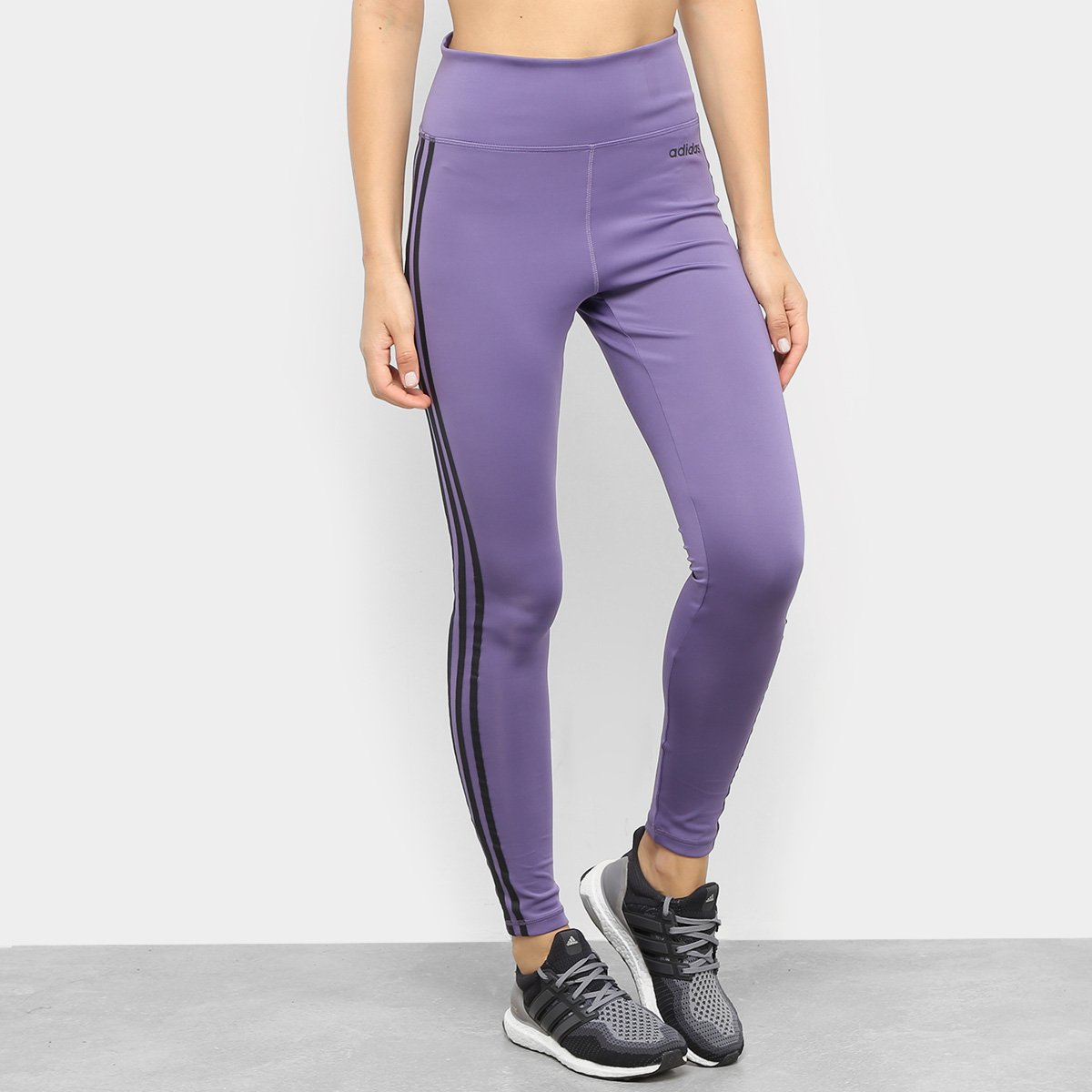 Menor preço em Calça Adidas D2M 3 Stripes Cintura Alta Feminina - Roxo e Preto