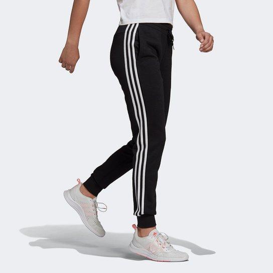 Calça Adidas Essentials Slim 3 Listras Feminina - Preto+Branco