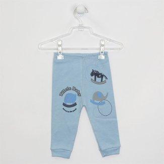 Calça Bebê Masculina Suedine Azul Claro-G