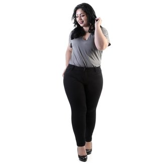 Calça Cigarrete Sawary Sarja Plus Size Hot Pant Feminina