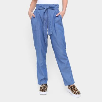 Calça Clochard Influencer Efeito Jeans Reta Feminina