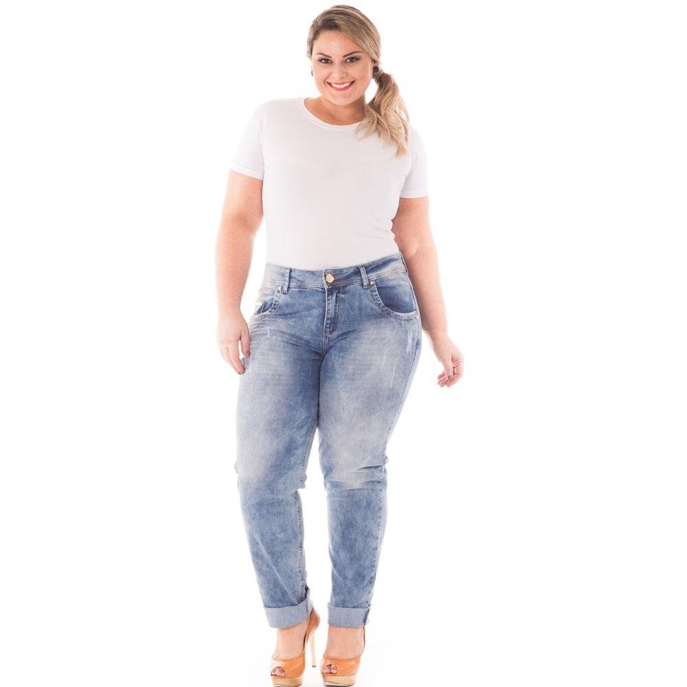 779c7a9e06d7fd Calça Confidencial Extra Plus Size Cintura Alta Jeans Feminina ...