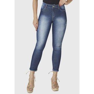 Calça Cropped  Jeans Zuren Skinny  Estonada Azul