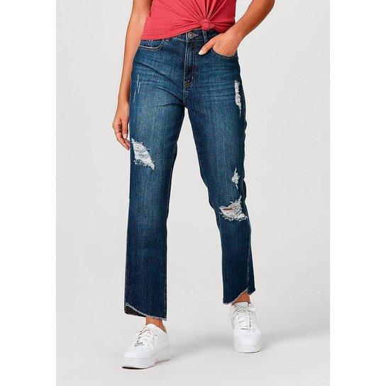 Calça Feminina Em Jeans De Algodão Destroyed - Azul