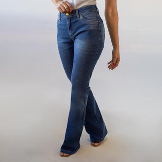 Calça Flare Jeans Feminina Cintura Alta Elastano Anticorpus