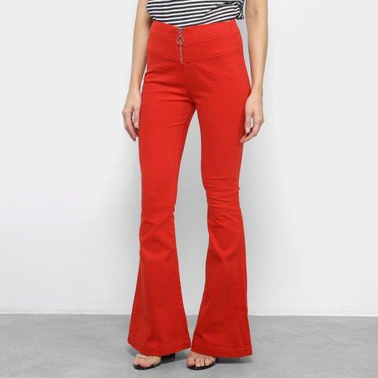 Calça Flare Morena Rosa Cintura Alta Feminina - Vermelho