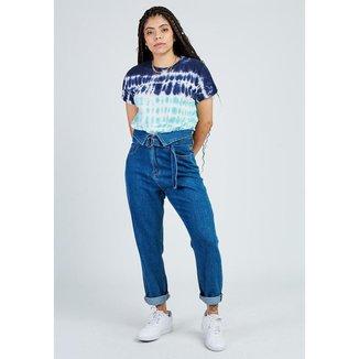 Calça Gang Mom Clochard Jeans Detalhe Cinto Feminina