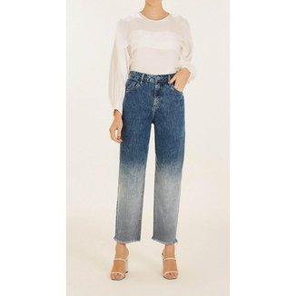 Calça Iódice Mom Cós Alto Barra Desfiada Jeans Feminina