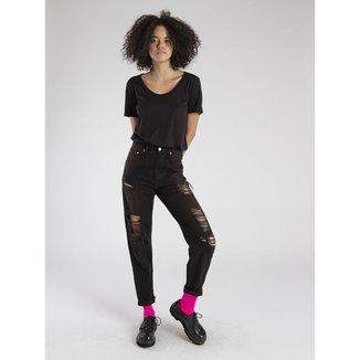 Calça Jeans Amapô Mom's Destroyed Nanquim Feminina