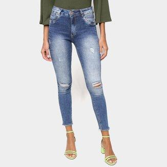 Calça Jeans Biotipo Skinny Desfiada Puídos Feminina