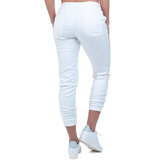 Calça Jeans Bloom Jogger Elástico Feminina - Branco