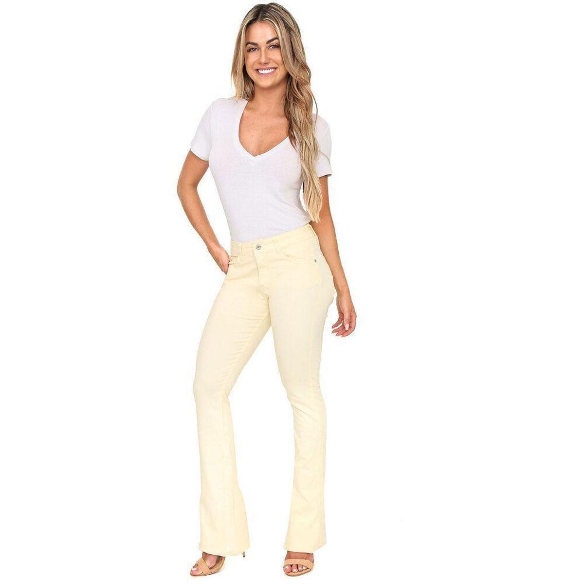 Calça Jeans Bloom Taty Flare Canário Feminina - Amarelo
