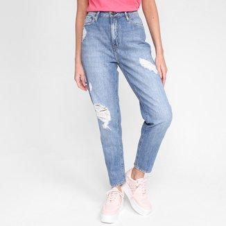 Calça Jeans Calvin Klein Mom Five Pockets Puídos Cintura Alta Feminina