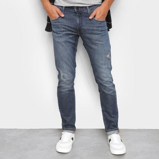 Calça Jeans Calvin Klein Rasgada Masculina - Marinho
