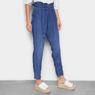 Calça Jeans Cambos Pantacourt Amarração Feminina