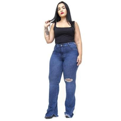 Calça Jeans Cambos Plus Size Flare Juciele Feminina-Feminino