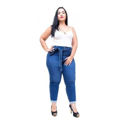 Calça Jeans Cambos Plus Size Skinny Cropped Crystiane Feminina-Feminino