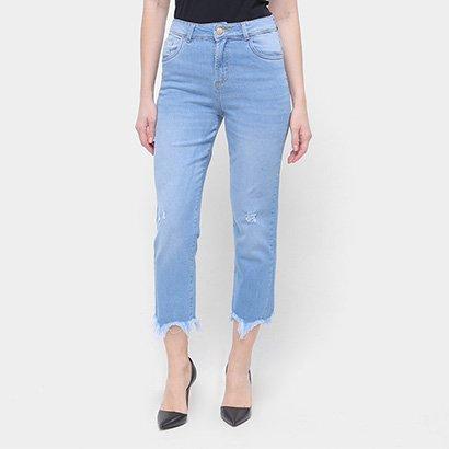 Calça Jeans Capri Sawary Barra Desfiada Feminina