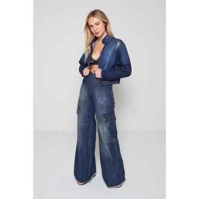Calça Jeans Cargo Jeans Feminina