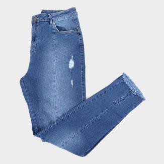 Calça Jeans Cigarrete Ecxo Plus Size Puídos Feminina
