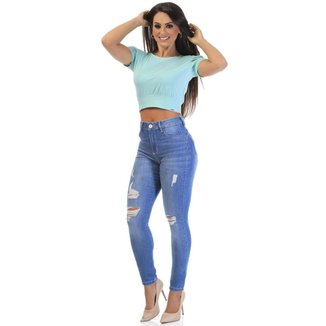 Calça jeans cigarrete heart Sawary  feminina