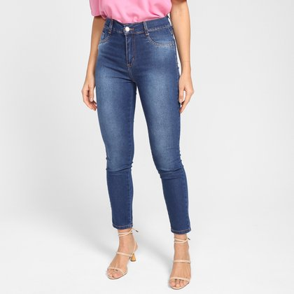 Calça Jeans Cigarrete Sawary Cintura Alta Feminina