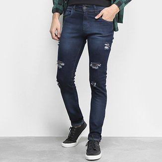 Calça Jeans Coffee Destroyed Rasgada Masculina