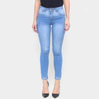 Calça Jeans Coffee Skinny Barra Dobrada Feminina