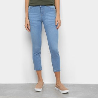 Calça Jeans Coffee Skinny Estonada Cintura Média Feminina